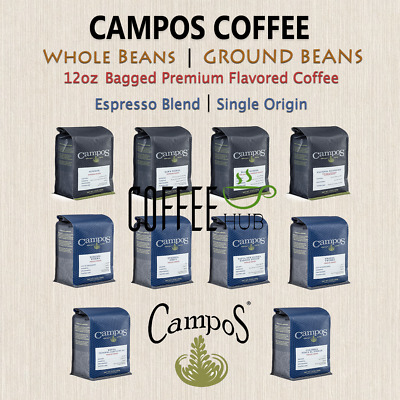 Campos Coffee 12oz Bag Whole Beans / Ground Bean Espresso lot All Flavors FRESH