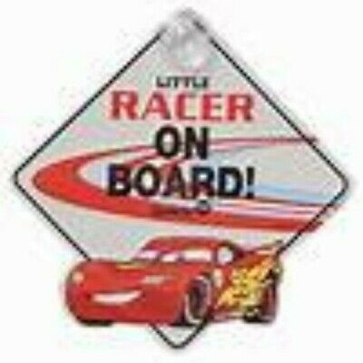 "Disney Baby ""Little Racer on Board!"" Pixar CARS Window Sign Lightning McQueen"