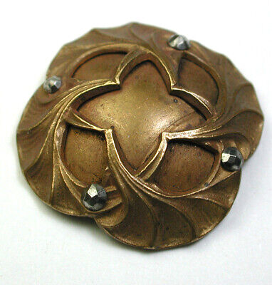 """Antique Victorian Brass Dome Button Ginkgo Leaves w/ Cut Steel Accents 1"""""""