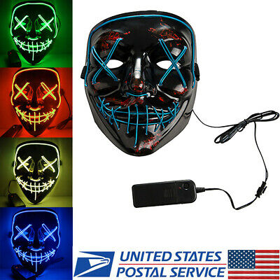 Halloween Wire Scary Mask Purge Movie LED Party Festival Costume Luminous Mask