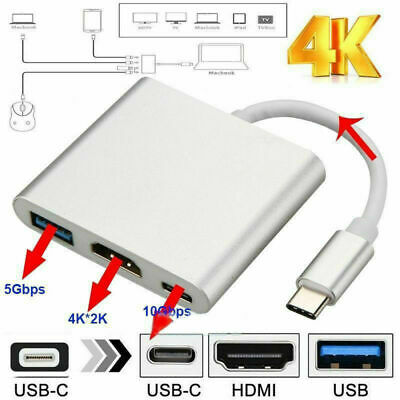 USB 3.1 Type C to USB-C 4K HDMI USB 3.0 Hub Adapter Cable For Apple Macbook D9