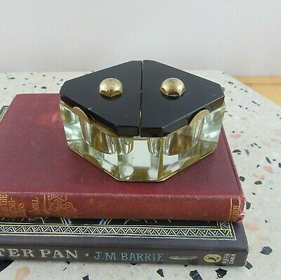 Vintage Art Deco Brass & Glass Hinged Lid Double Inkwell