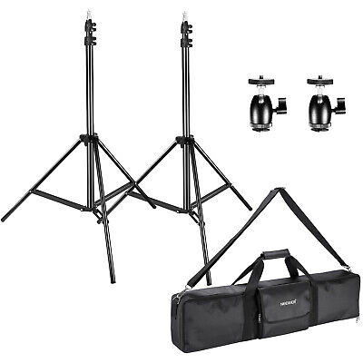 2 Packs Light Stands with 2 Packs Ball Head Hot Shoe Adapters and Carrying Case