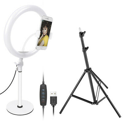 LED Ring Light, Table Top 10-inch USB Ring Light with 6.23 Feet Light Stand