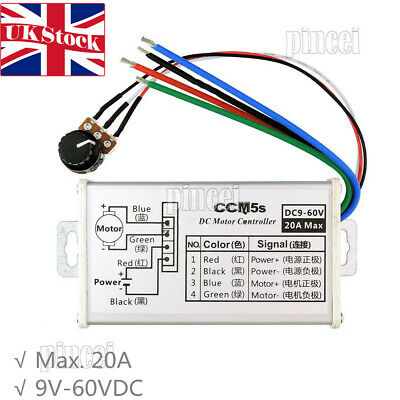 Max 20A 12V 24V PWM DC Motor Stepless Variable Speed Controller Switch UK Stock