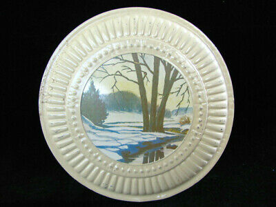 FLUE COVER Metal Stove Pipe Chimney Plate Vintage Trees by a Stream with Holder