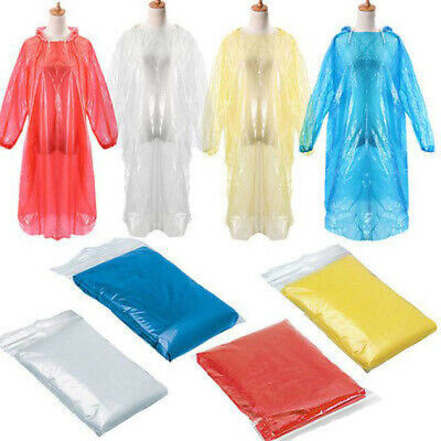 Disposable Adult Emergency Waterproof Rain Coat Poncho Hiking Camping Hood Home