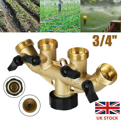 "UK 4 Way 3/4"" Brass Garden Water Splitter Multi Hose Tap Adaptor Pipe Connector"