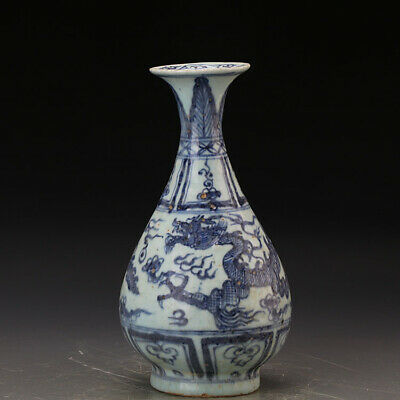 Chinese ancient antique hand make Blue and white Dragon pattern VASE QQ134