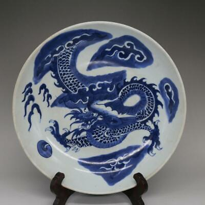Chinese ancient antique hand make Blue and White Dragon pattern  Plate e189