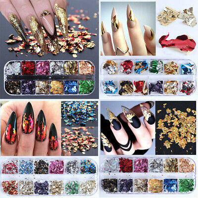 12 Grid Irregular Crushed Flake Sequin Shell Nail Art Mirror Glitter Foil Decor