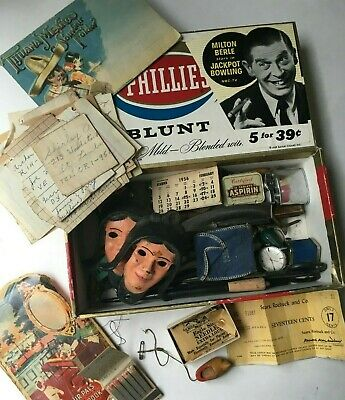 VINTAGE MENS JUNK DRAWER LOT, Peep Viewer, Watch, Old Razor, Oddities