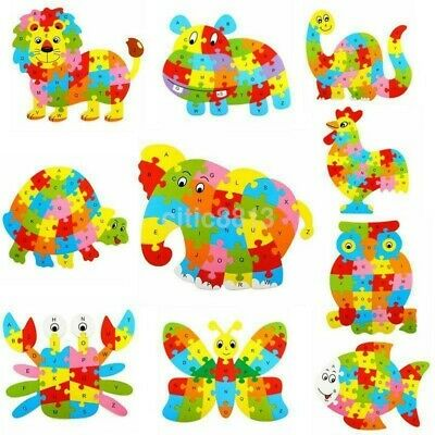Wooden ABC Alphabet Jigsaw Animal Puzzle kids Toys Children Educational Learning