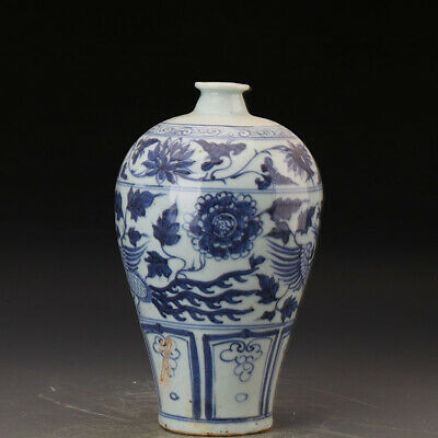 Chinese ancient antique hand make Blue-and-white phoenix pattern vase e223