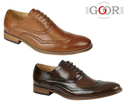 BOYS FORMAL SMART Wedding Lace Up Tan Brogues Shoes - Size 10 11 12 13 1 2 3 4 5
