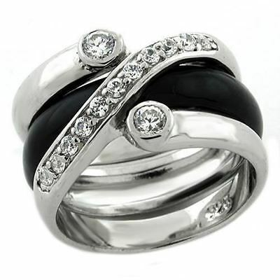1218 2Pcs Band Back Bezel Simulated Diamond Sterling Silver Ring Stamped $156