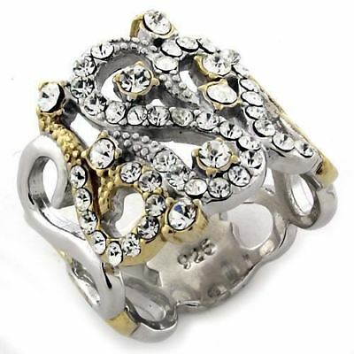 1066 Fancy Band Simulated Diamond Sterling Silver, Gold Ring Womens Two Tone