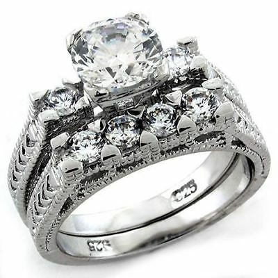 1198 Wedding Engagement Rings Set Band  Simulated Diamond Sterling Silver Ring