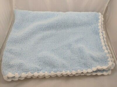 """Nursery Rhyme Blue Baby Blanket Chenille Scallopped About 40"""" x 30"""""""