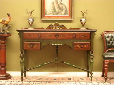 American Painted Mahogany 3 Drawer Hall /Side Table Sideboard ~ Beautiful Detail