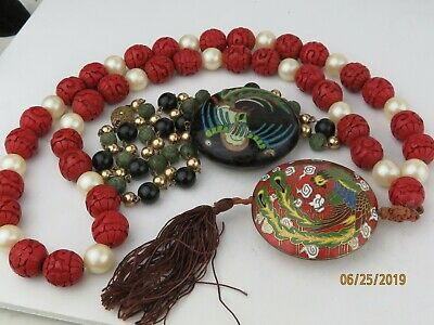 Vintage Chinese Cloisonne Enamel pendants on Carved Cinnabar Beads Necklace
