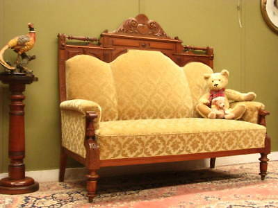 FINELY CARVED ANTIQUE WALNUT SETTEE / SOFA / LOUNGE ~ GOLD VELVET FABRIC  c1900s