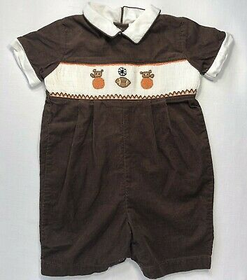 Carriage Boutique Boys 9 Month Brown Corduroy Football Basketball Smocked Romper