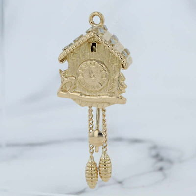 Cuckoo Clock Charm - 18k Yellow Gold Vintage Moving Parts 3D