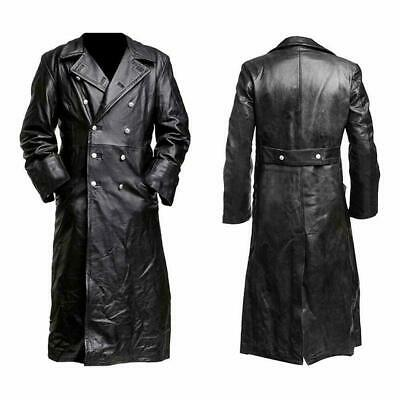 Men's Classic WW2 German Officer Military Uniform Black Leather Trench Coat