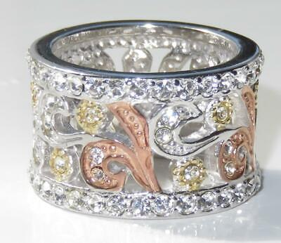 1032 Wide Pave Set Rose Gold Simulated Diamond Ring Sterling Silver Stamped Band