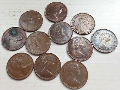 Half pence 1/2p New Penny 1974 collectable coins; 45th Birthday/Anniversary gift