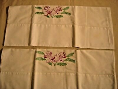 """Antique Pair Pillow Cases Embroidered Orchids  Purple with Green Cotton 19"""" 9350"""