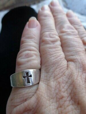 SIGNED JAMES AVERY RELIGIOUS STERLING OPEN CROSS STERLING BAND RING sz 6 ESTATE