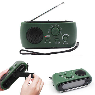 Dynamo Wind Up Hand Crank Solar Powered USB Rechargeable Portable AM FM Radio UK
