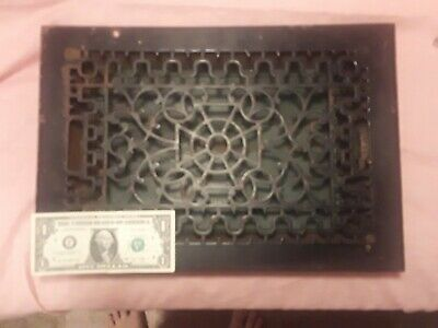 "Vtg. Antique Cast Iron Large Floor Register vent grate 16""X11"" 14""X9"" Wt.35 lbs"