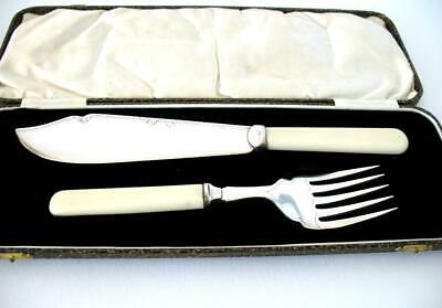 Vintage Silver Plated Fish Servers Serving Set  Joseph Elliot  Sheffield  Boxed