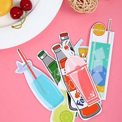 New 30x Paper Bookmarks Cute Bookmark Drinks Ice Cream Book Marker Stationery 6T