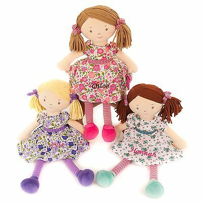 Personalised Embroidered Girls Rag Doll Pink Traditional Gift Toy  40cm