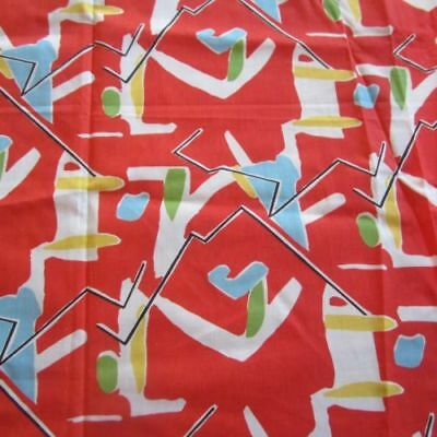 50cm x 92cm Red Abstract Crazy Novelty Sew vintage cotton blend fabric 1980s