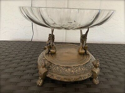 Egyptian Winged Sphinx Brass Metal Scalloped Glass Bowl Centerpiece Bowl