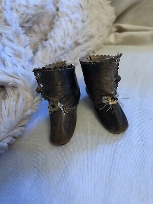Small Rare Antique Leather French Fashion Doll Boots With Heels Signed J J