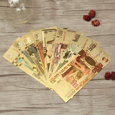 8pcs Russia Banknote Rubles Gold Foil Fake Paper Money Play Set Collection Gift