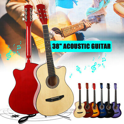 38'' Modern Wood Guitar Acoustic Musical for Beginners Students Kid Gifts School