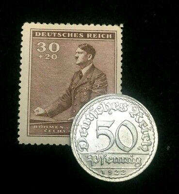 Rare Antique German 200 Mark 1923 - A Coin & UNC Stamp World War 2 & 1 Artifacts