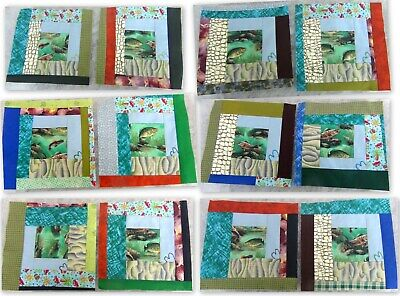NEW 12)10x10 HE Loves To Fish~ Hand Embroidery Hearts ~Pieced Crazy Quilt Blocks
