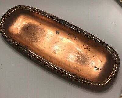 Vintage Arts & Crafts Hammered Copper Tray, Georgian Solid Copper Made In U.S.A.