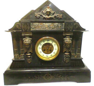 HUGE French Castle Alabaster Architectural Clock 21 x 19 Inches