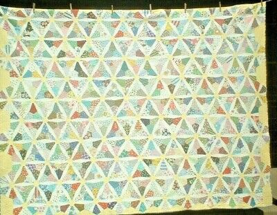 Antique Vintage 1930S/1970S Sweet Feedsack Stained Glass Patchwork Quilt Wow!