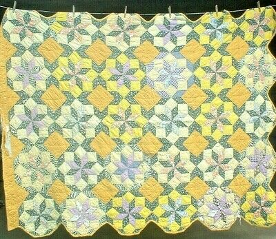 Antique Vintage 1930S Yellow Lemoyne Star Octagon Folk-Art Patchwork Quilt As Is