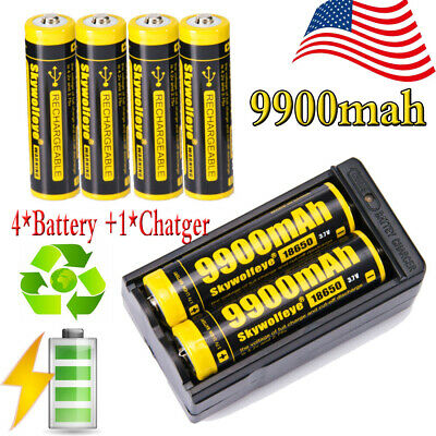 BRC 18650 3.7V 9900mAh Li-ion Lithium Rechargeable Battery + 18650 Charger US